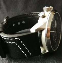 Black Leather diagonal stitching 24 mm
