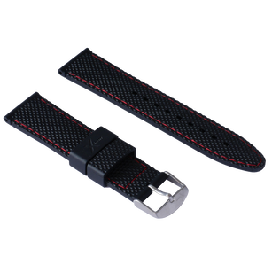 Diamond Cut - silicon 22mm black red stitching