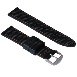 Diamond Cut - silicone 22mm black orange stitching